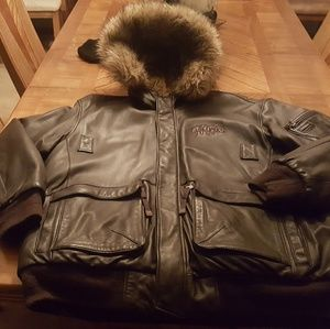 Brown Leather Winter coat with fur hood.
